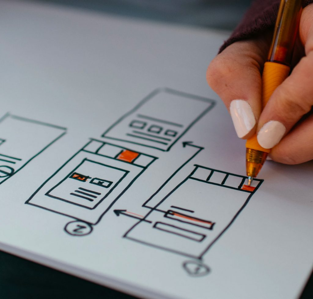 Picture of a person drawing UX